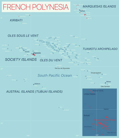 French Polynesia detailed editable map with cities and towns, geographic sites.