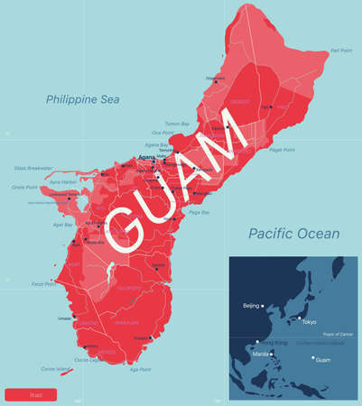 GUAM detailed editable map with regions cities and towns, roads and railways, geographic sites. Vector EPS-10 file  イラスト・ベクター素材