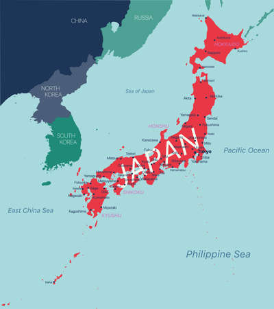 JAPAN detailed editable map with regions cities and towns, geographic sites.