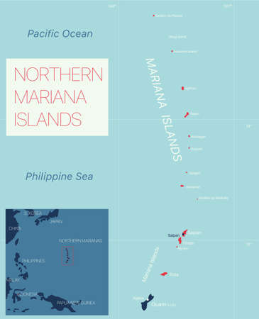 Nothern Mariana Islands detailed editable map with cities and towns, geographic sites. Vector EPS-10 file