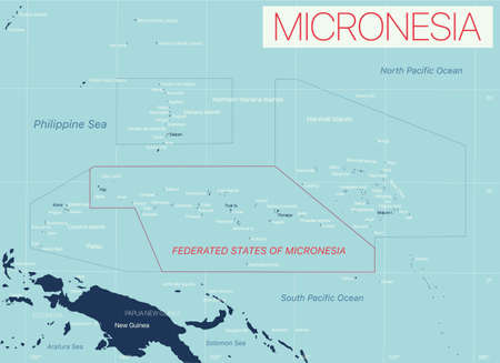 Micronesia detailed editable map with cities and towns, geographic sites. Vector EPS-10 file