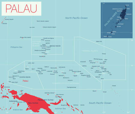 Palau detailed editable map with cities and towns, geographic sites. Vector EPS-10 file