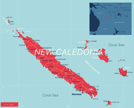 New Caledonia detailed editable map with cities and towns, geographic sites.  イラスト・ベクター素材