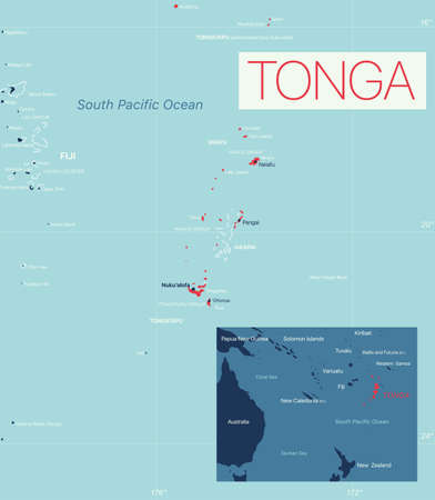 Tonga detailed editable map with cities and towns, geographic sites.