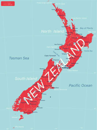 New Zealand detailed editable map with cities and towns, geographic sites.