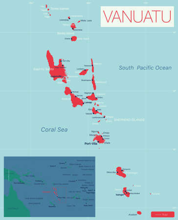 Vanuatu detailed editable map with cities and towns, geographic sites. Vector EPS-10 file