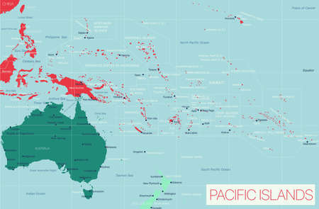 Pacific Island detailed editable map with cities and towns, geographic sites. Vector EPS-10 file  イラスト・ベクター素材