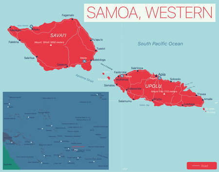 Western Samoa detailed editable map with cities and towns, geographic sites. Vector EPS-10 file  イラスト・ベクター素材