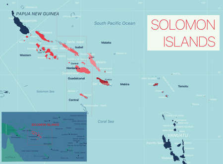 Solomon Islands detailed editable map with cities and towns, geographic sites. Vector EPS-10 file  イラスト・ベクター素材