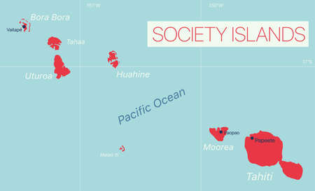 Society Islands detailed editable map with cities and towns, geographic sites.
