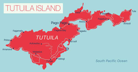 Tutuila Islands detailed editable map with cities and towns, geographic sites.  イラスト・ベクター素材