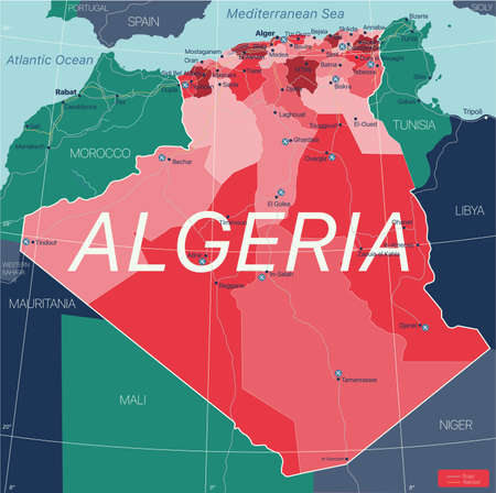Algeria country detailed editable map with regions cities and towns, roads and railways, geographic sites. Vector EPS-10 file  イラスト・ベクター素材