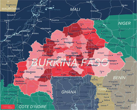 Burkina Faso country detailed editable map with regions cities and towns, roads and railways, geographic sites. Vector EPS-10 file