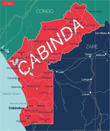Cabinda country detailed editable map with regions cities and towns, roads and railways, geographic sites. Vector EPS-10 file