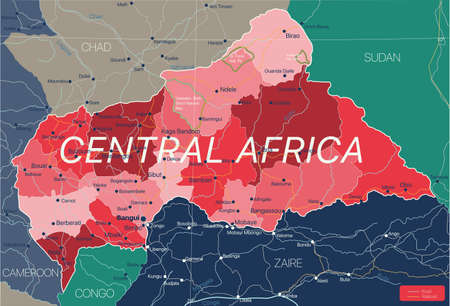 Central Africa country detailed editable map with regions cities and towns, roads and railways, geographic sites. Vector EPS-10 file  イラスト・ベクター素材