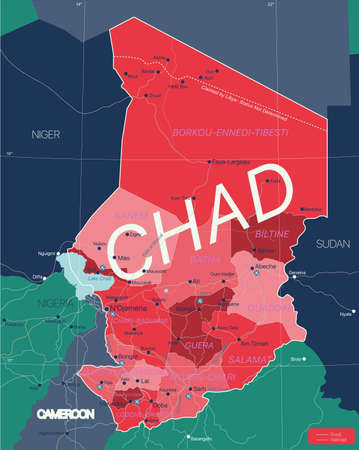 Chad country detailed editable map with regions cities and towns, roads and railways, geographic sites. Vector EPS-10 file