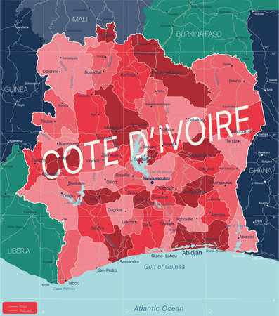 Cote d Ivoire country detailed editable map with regions cities and towns, roads and railways, geographic sites. Vector EPS-10 file  イラスト・ベクター素材