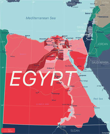 Egypt country detailed editable map with regions cities and towns, roads and railways, geographic sites. Vector EPS-10 file