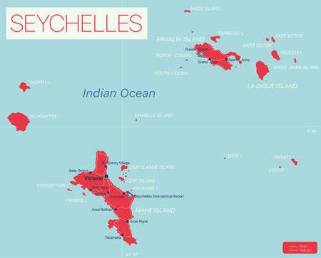 Seychelles islands detailed editable map
