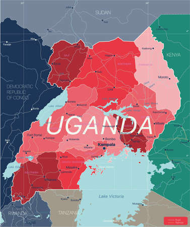 Uganda country detailed editable map