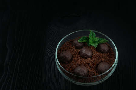 Chocolate dessert of cookies with pieces of chocolate