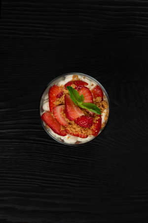 Strawberry with cookie and cream dessert