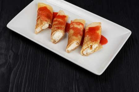 Pancakes stuffed with cream 写真素材