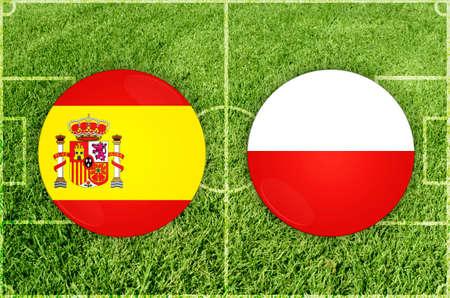 Spain vs Poland football match 写真素材