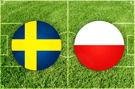 Sweden vs Poland football match 写真素材