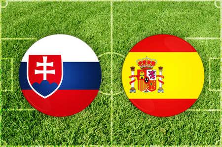 Slovakia vs Spain football match 写真素材