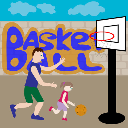 teaches: Dad and daughter play basketball. On the basketball court Dad teaches his daughter to play basketball. Illustration