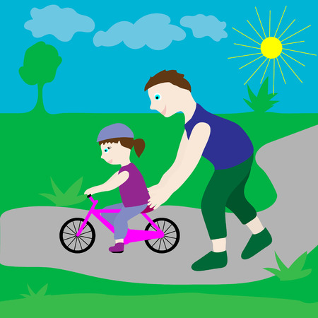 teaches: Dad with his daughter and a bicycle. Dad teaches girl to ride a bike.