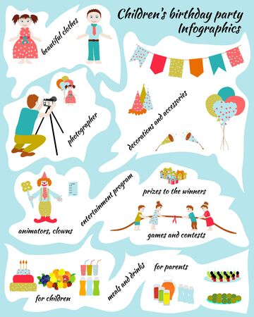 to prepare: Childrens Birthday. How to prepare childrens holiday. Illustration