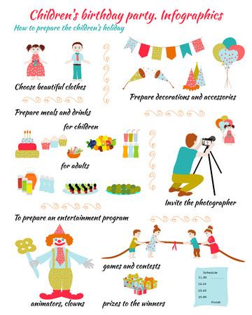 children's: Childrens Birthday. How to prepare childrens holiday. Illustration