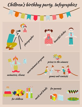 prepare: Childrens Birthday. How to prepare childrens holiday. Illustration