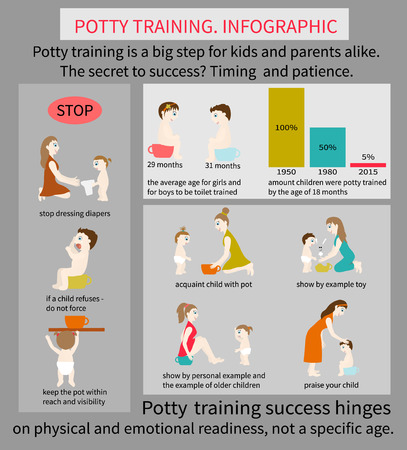 Potty Training. Infographics about how to teach your child to use the potty.