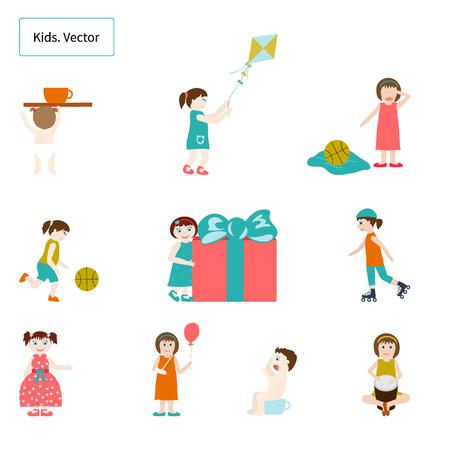 balon de basketball: Niños. Elementos. Vector. Fije los elementos sobre el tema Infancia Vectores