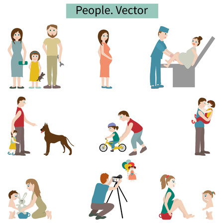 obstetrician: People. Set of elements. Vector.