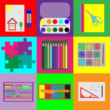 plaiting: Set of elements for childrens development, stationery for children and adults.