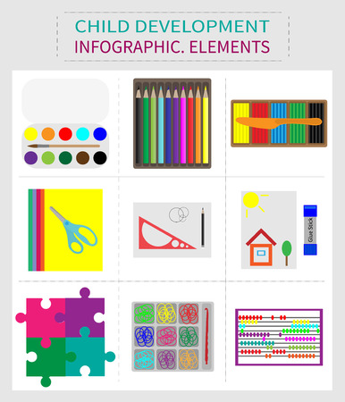 Set of elements for childrens development, stationery for children and adults.