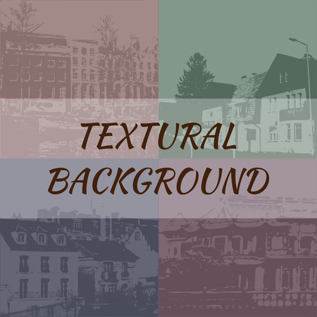 textured backgrounds: Set of 4 textured backgrounds depicting houses - vector, EPS10 Illustration