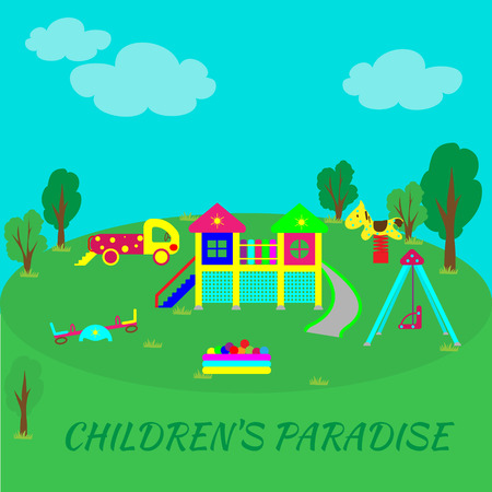 Playground into flat style. Recreational facilities for the child. Physical development of children through games and sports. Illustration