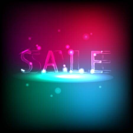 conviviality: Banner with neon inscription Sale. Light reflections give the image of mystery and conviviality - vector