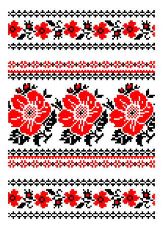 required: Ukrainian National ornament. Embroidered towels - a required element at every wedding, folk holidays and festivities, very trendy decor of contemporary Ukrainian fashion - vector, EPS8 Illustration