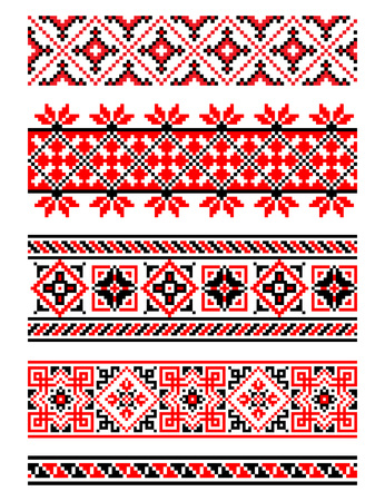 ukraine: Ukrainian National ornament. Embroidered towels - a required element at every wedding, folk holidays and festivities, very trendy decor of contemporary Ukrainian fashion - vector, EPS8 Illustration