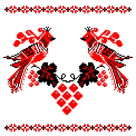 red cross red bird: Ukrainian National ornament. Embroidered towels - a required element at every wedding, folk holidays and festivities, very trendy decor of contemporary Ukrainian fashion - vector, EPS8 Illustration
