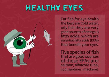 eyesight: Healthy eye. Information about the benefits of fish for eyesight