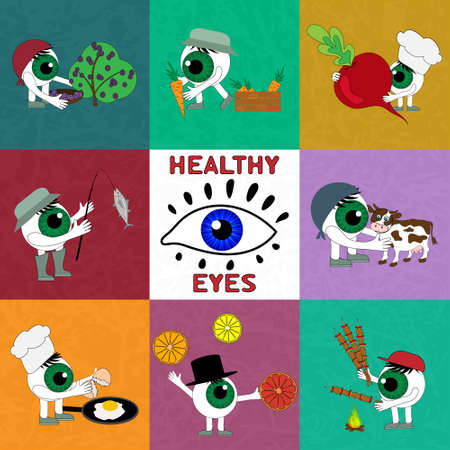 importance: The products are useful for eye health. Set elements on the theme of Healthy eyes. The importance of proper nutrition for good vision - vector