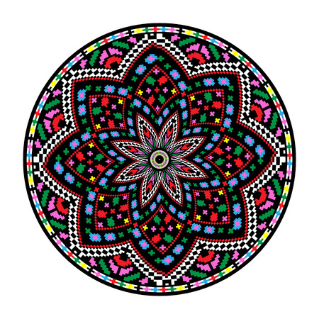 design drawing: Ethnic motives. Circular pattern in traditional style - EPS8