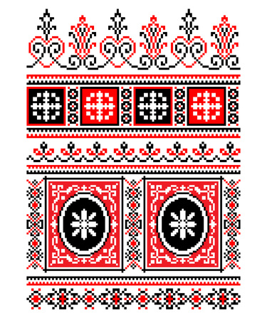 ukraine folk: Ukrainian National ornament. Embroidered towels - a required element at every wedding, folk holidays and festivities, very trendy decor of contemporary Ukrainian fashion - vector, EPS8 Illustration